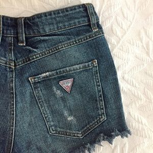 Guess Shorts - GUESS JEANS 1981 High-rise Cutoff Shorts